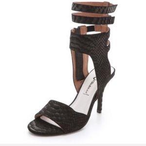 Jeffrey Campbell Skybox heel snake textured suede
